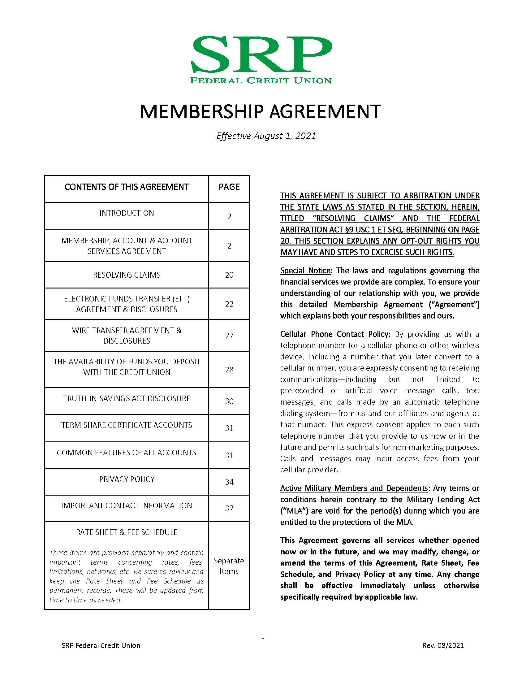 Membership Agreement1 | Membership Agreement