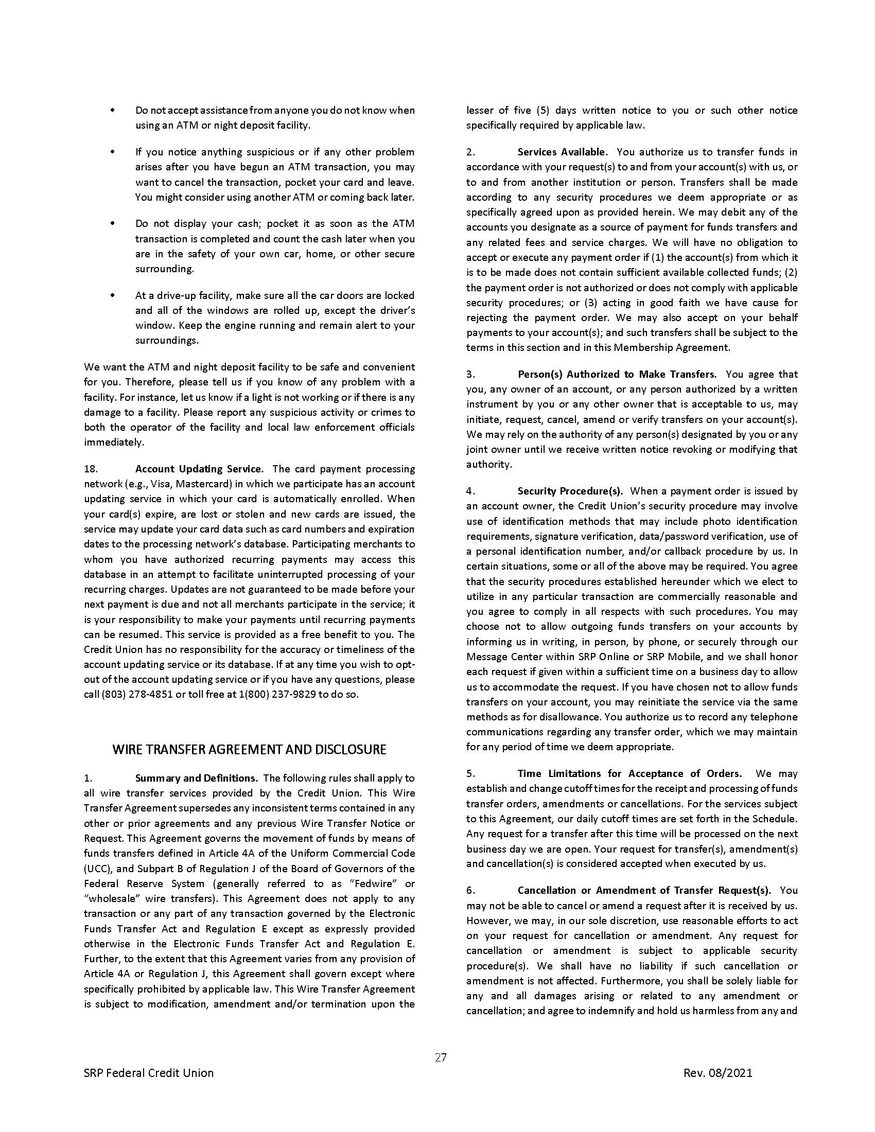 Membership Agreement27 | Membership Agreement